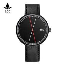 Nouveau Design Unique Mens Montres 2016 BGG Marque Grand Cadran Montre à quartz Hommes Mode Casual En Cuir Horloges Mannen mâle Horloge noir