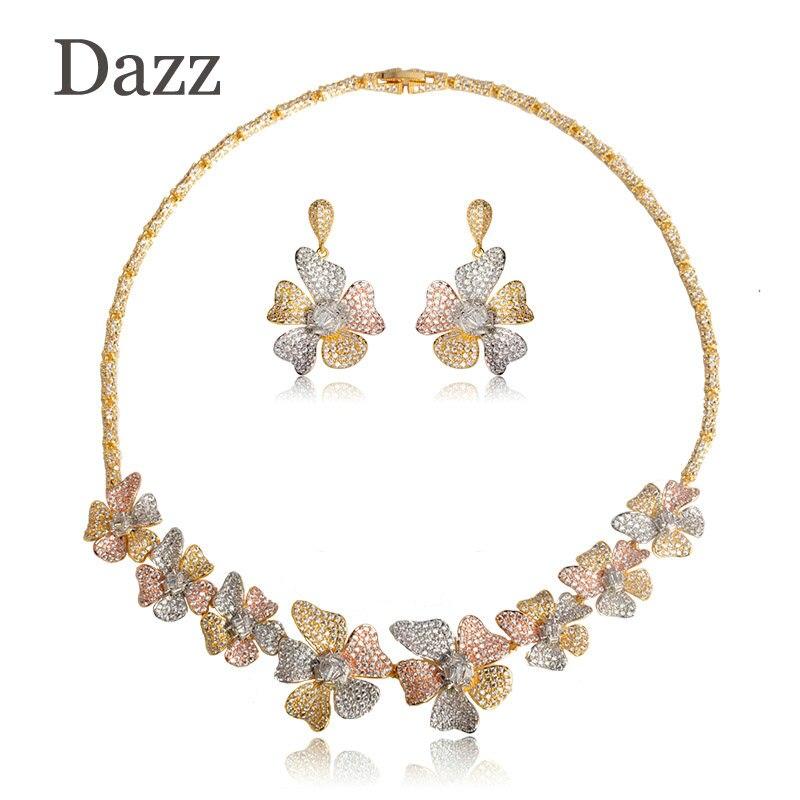 Dazz Flower Leaf Wreath Jewelry Sets 3 Tone Women Wedding Naija Bridal Cubic Zirconia Necklace Earring Dubai African Jewelry Set