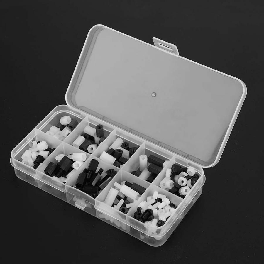 300pcs Hex nuts White Black M3 Nylon round head Screws Nuts Spacers Set Male Female Spacers button head wood screw and nut in Nuts from Home Improvement