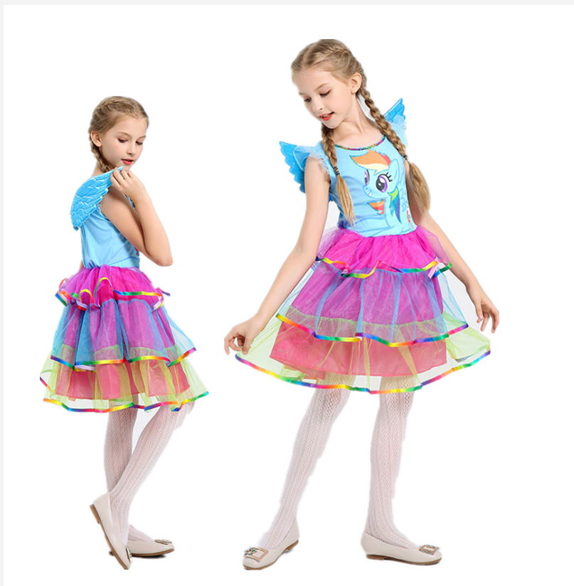 Unique Deluxe Kids Girls Rainbow pony Costume for Girl Halloween Carnival Party blue Dress Costumes