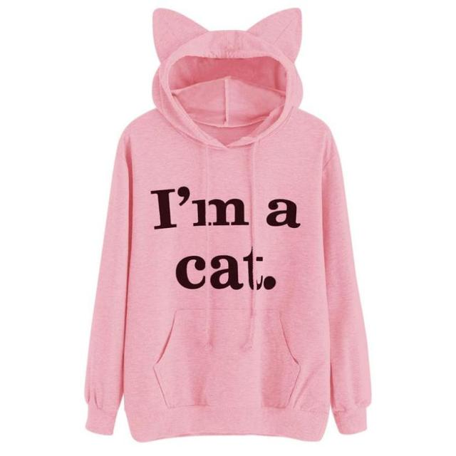 Women's Cat Slogan Printed Sweatshirt