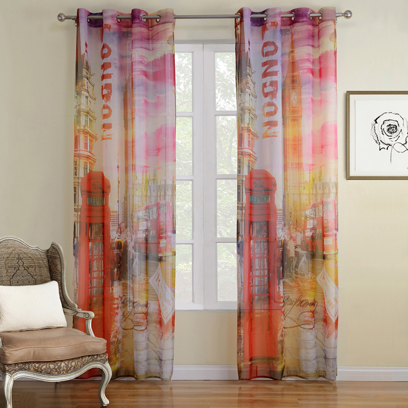 Printed scenic curtains for living room modern european - European style curtains for living room ...