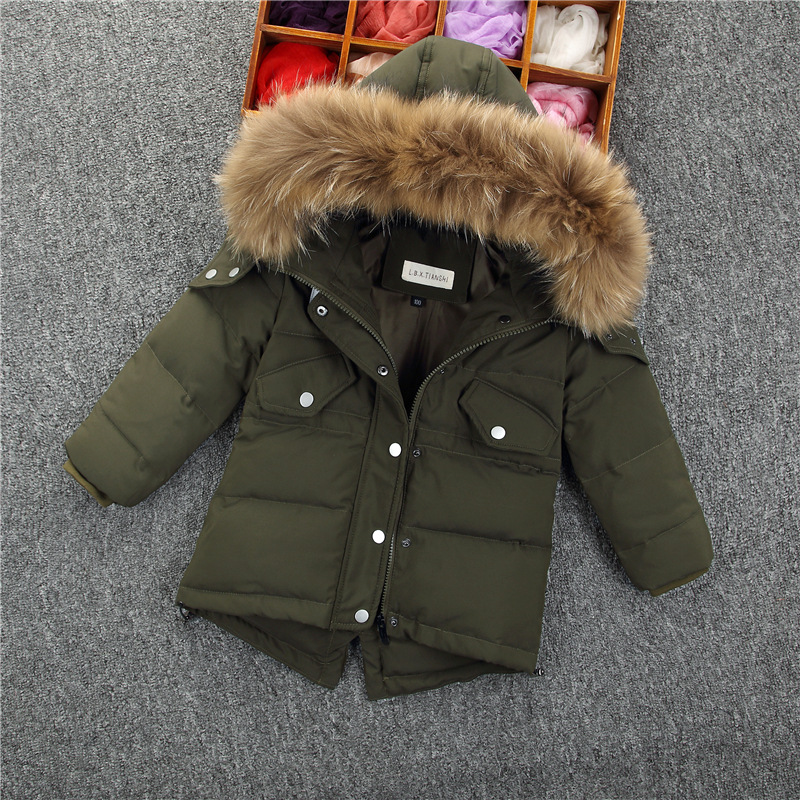 2017 White Duck Down Winter Jacket Teenagers Thickening Casual Warm Fur Collar Jacket Boy Winter Hooded Brand Coat Girls Parkas цены онлайн