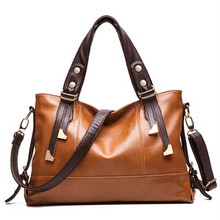 2016 Hot European American style Oil wax Genuine Leather Cowhide Women handbags Fashion Women shoulder bags +15 Colors