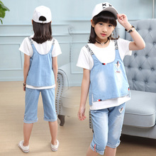 2019 New Summer Casual Jean Sets coat +Shirt+Jeans 3pcs set Clothing Kids overalls Suit For  5 6 7 10 Years girls clothes TTX089