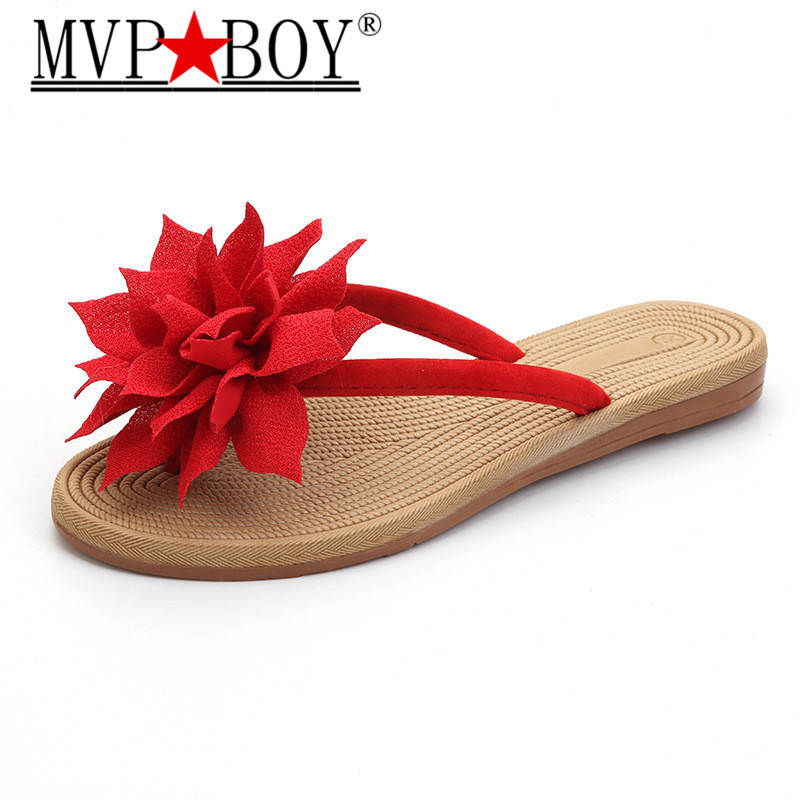 Mvp Boy Summer Women 39 s Flat Slippers Casual Flower Female Flip Flops Non slip Slippers Soft Bottom Toe Flip Flops Plus 35 41 in Flip Flops from Shoes