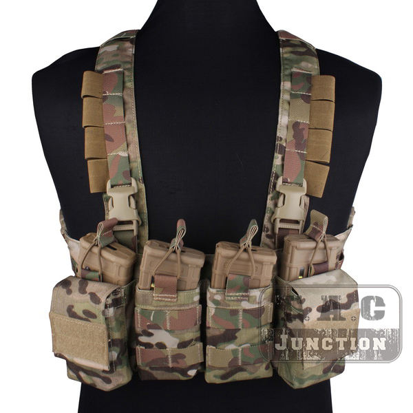 Emerson Combat Rapid Assault Chest Rig Emersongear Quick Release Carrier Vest Harness with M4 M16 Mag Magazine Pouch Multicam-in Hunting Vests from Sports & Entertainment    1
