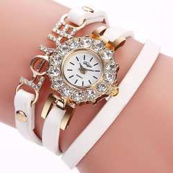Оберните вокруг плетения кожаный ретро браслет женские наручные часы Любовь