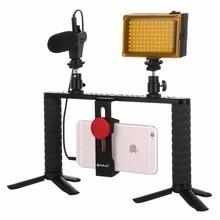 PULUZ مصباح سيلفي LED 4 في 1 للبث المباشر ، مع حامل ثلاثي القوائم وميكروفون ، للهاتف الذكي ، ومنصة فيديو ، ومثبت بمقبض ، وأطقم دعم من الألومنيوم