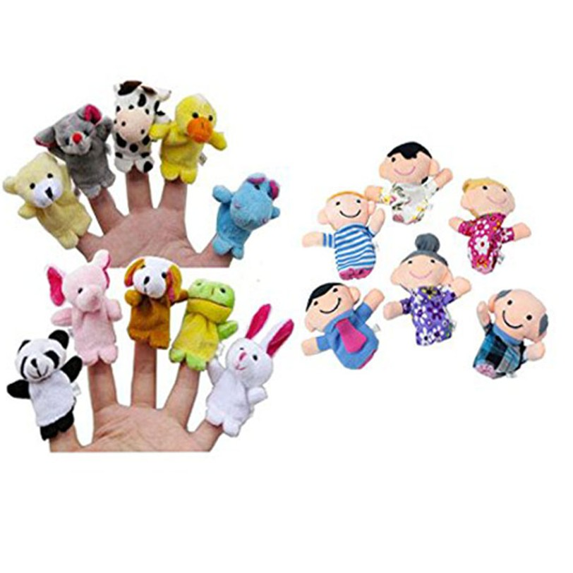 Hiinst finger doll 2017 16PC Story Animals 6 People Family Members Educational Toy wholesale*R Drop hot sale