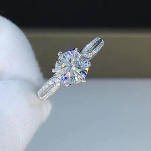 Image 1 - Round White Gold Moissanite Ring 1ct 6.50mm D VVS Luxury Moissanite Weding Ring for Women