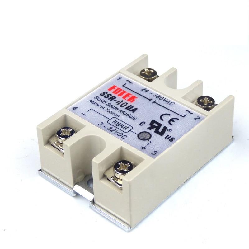 10pcs SSR40DA SSR 40DA Manufacturer 40A SSR relay input 3 32VDC output 24 380VAC Single phase