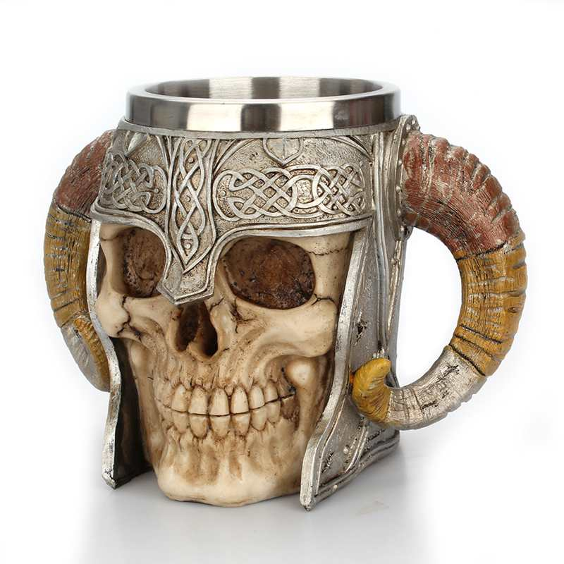 Ram Horned Pit Lord Warrior Stainless Steel Skull Mug Goat Horn Resin Viking Tankard Coffee Beer Mugs Geek Home Bar Gift Tea Cup