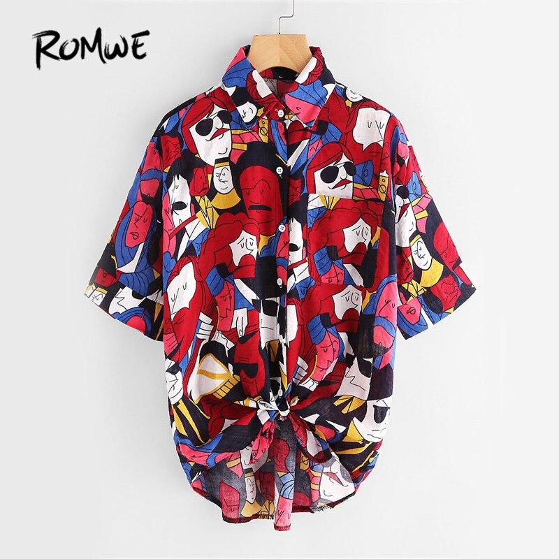 ROMWE Multicolor Gedruckt Hemd Knoten Vorn Nette Beiläufige Bluse 2017 frauen Dip Saum Sommer Tops Taschen Button Up Revers Hallo-Lo bluse