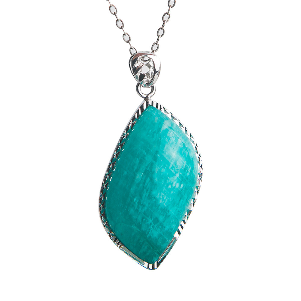 925 pendentif en argent Sterling naturel Amazonite pour les femmes bleu cristal gemmes perles de pierre trouver bijoux pendentifs collier