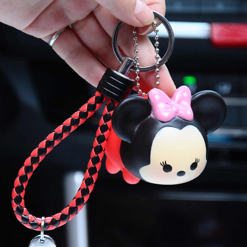 442d089f3 ... Cute Cartoon Bear Keychain Charms Animal Penguin Minnie Pig Dog Key  Chain Car Key Ring Leather
