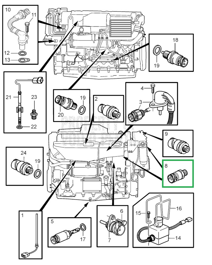 Volvo D12 Sensor Locations on Volvo D12 Engine Parts