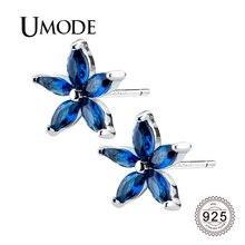 UMODE, новинка, 925 пробы, серебряные серьги для женщин, Голубой квадрат, цветок, серьги-гвоздики, фианит, кристалл, ювелирное изделие, подарок ULE0572