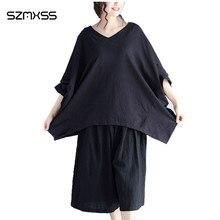 Plus Size Soft Cotton Linen Women Bat Half Sleeve Shirt V-Neck Blouse Shirts Casual Loose Summer 2017 Women Tops Blusas M-XXL