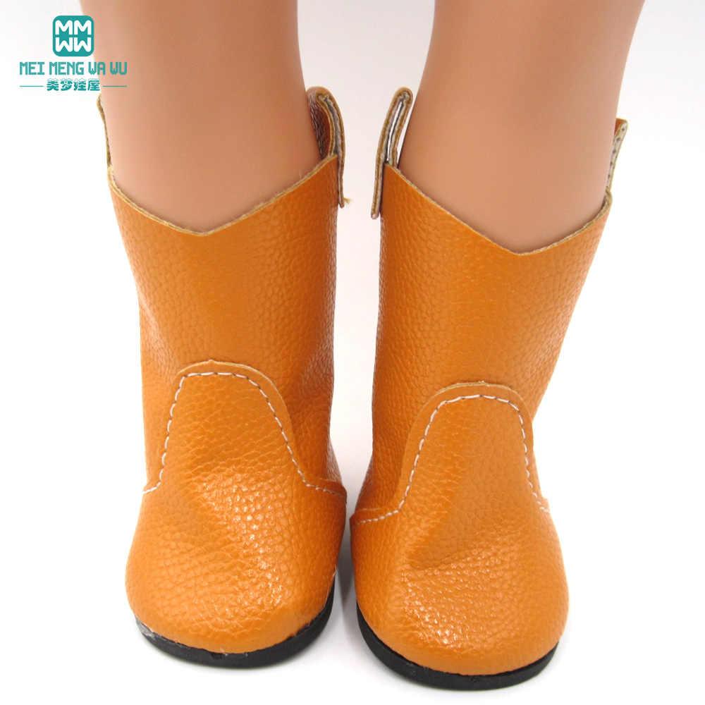 7 cm oyuncak bebek Ayakkabıları bebek sarı deri Çizmeler 45 cm amerikan oyuncak bebek ve yeni doğan bebek aksesuarları