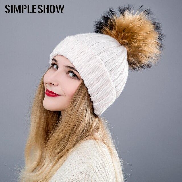 2018 Fashion Winter Hat For Women Skullies Beanies Pom Poms Warm F...