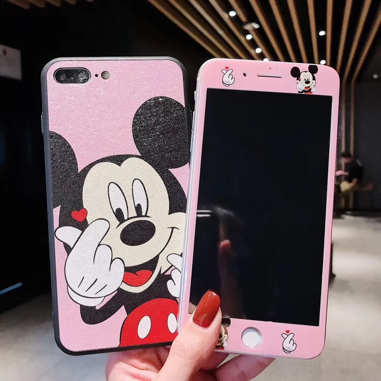huge selection of 34e93 ba379 US $3.64 12% OFF|Cute Hello Kitty Mickey Minnie Silk Leather Phone Case +  Tempered Glass Film for IPhone X XR XS MAX 6 6S Plus 7 7P 8 8P Case-in ...