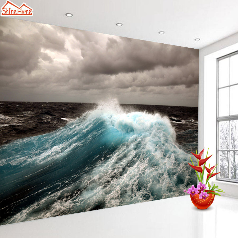 ShineHome-Seascape Wave 3d Room Photo Wallpaper for Walls 3 d  Living Room Wallpapers Mural Roll Wall Paper Home Decoration shinehome lamp bulb in water art 3d wallpaper wallpapers photo walls murals for 3 d living room still life home roll wall paper