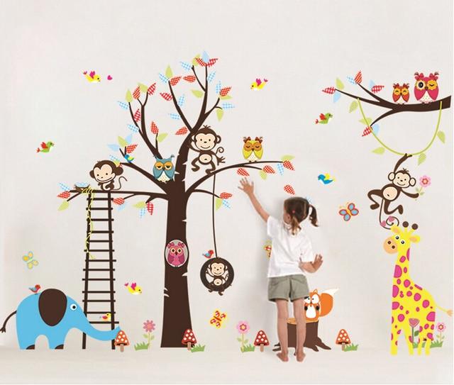 Pvc xl, grande enorme Zoo pared pegatinas, mono animales de dibujos ...