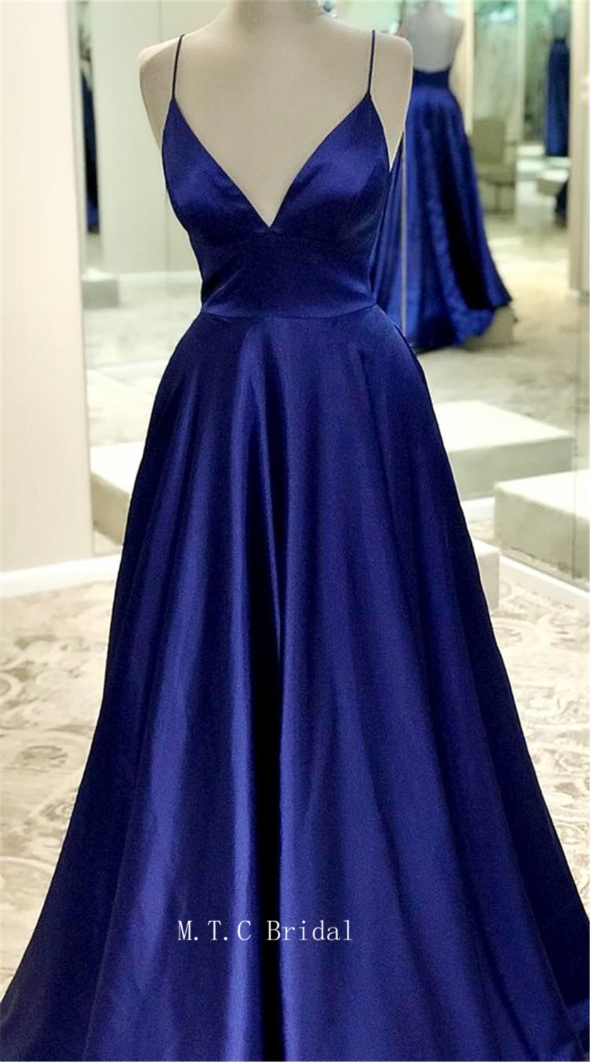 2019 Royal Blue Long   Prom     Dresses   Sexy Sweetheart Spaghetti Strap A Line Backless Formal Occasion   Dress   Cheap Robe De Soiree