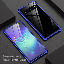 For Samsung Galaxy S10 5G Case S105G Bumper Metal Aluminum Frame Cover with Glass Back for glass case