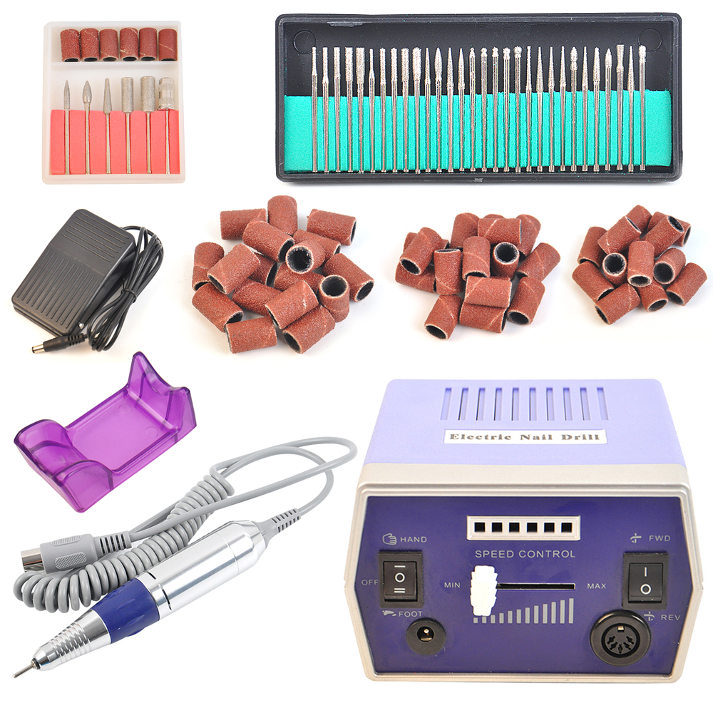 Free Shipping Hot sale Nail Drill Bits 300 pcs of 80 120 180 Sanding Bands 1Set 30000 RPM Electric Kits 3 3 300 30000
