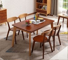 Dining Table set Dining Room set Home Furniture solid wood one piece dining table+ 4 pieces chairs sets kitchen desk 150*0*75cm(China)