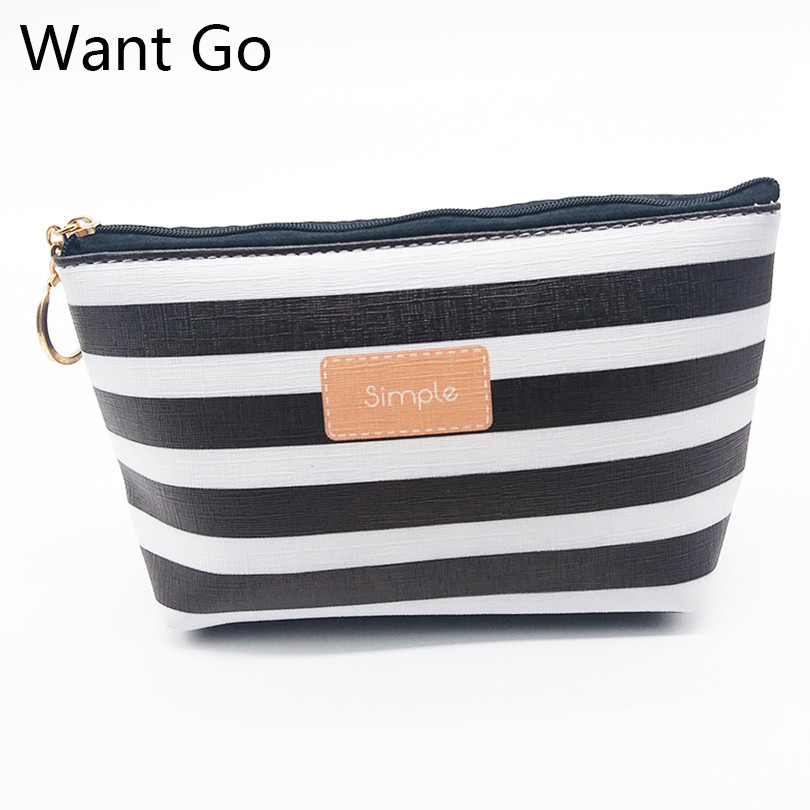 Want Go New Striped Women Cosmetic Bags Make Up Organizer Travel Bag Portable Girls Clutch Bag Vanity Storage Pouch Neceser