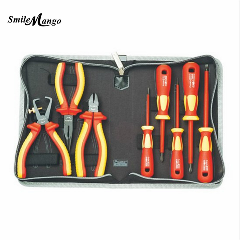 2017 High Quality Taiwan Bao Gong PK-2801 VDE1000V Pro'skit high voltage insulation electrician tool set Free Shipping лупа bao workers in taiwan 10