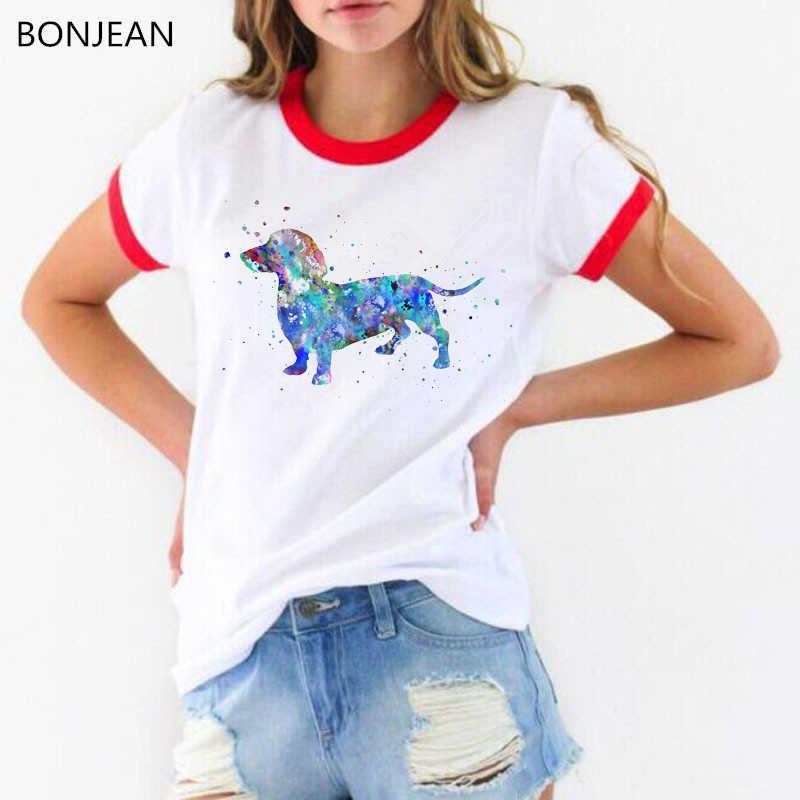 הברנש מגניב תחש בצבעי מים פאטאל קיץ אופנה נשים T חולצה די ילדה מקרית למעלה חולצת טי חמוד כלב אמנות עיצוב