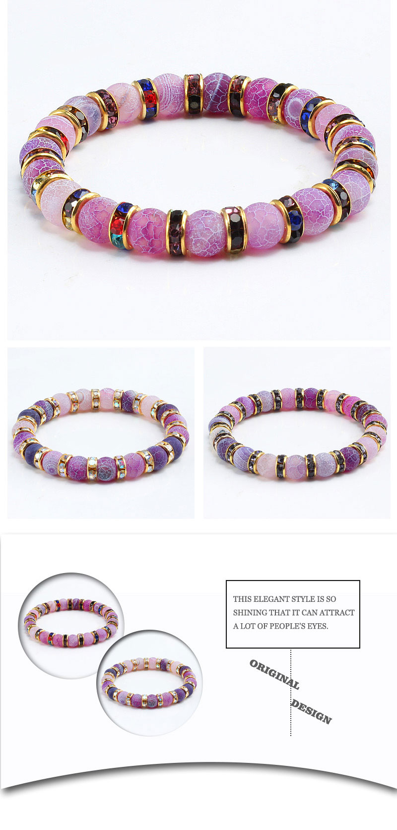 1Pcs Classic Colorful Purple Love Crystal Beaded Chakra Yoga Bracelet Female Natural Stone Beads Bracelets Women Men Jewelry Hot 4