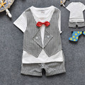 2016 Children Boys Birthday Costumes Clothes Sets Wedding Summer Tie Suit Baby Boy Clothes Kids Formal Suits for Boys Plaid Suit