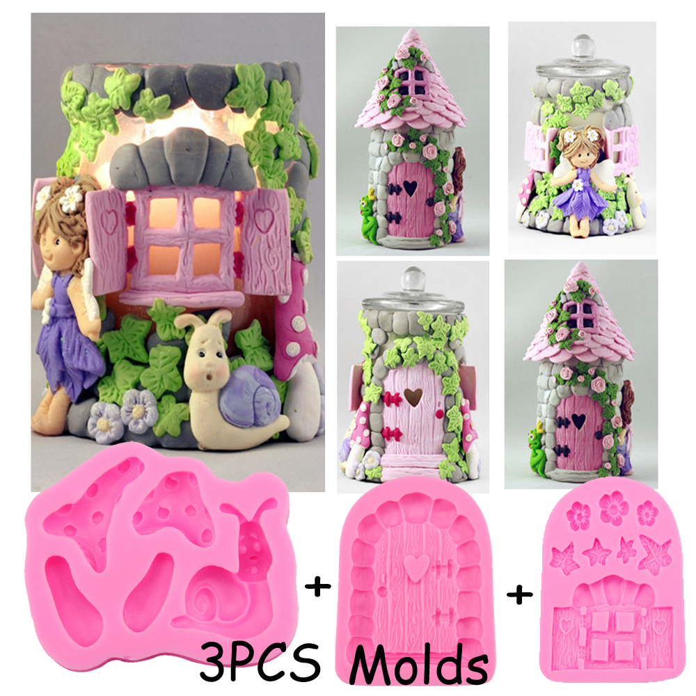 3pcs House Theme Window,Door,Flower,Leaf,Mushroom shaped 3D Reverse sugar molding silicone mould cake decoration tools FT-0631