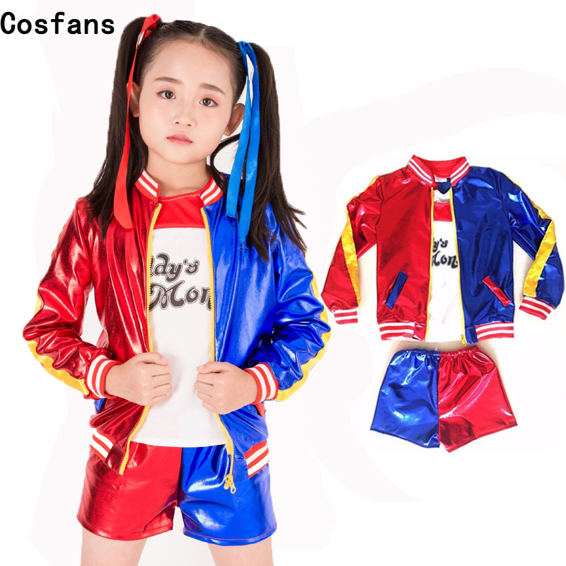 Girls Kids Harley Quinn Costume Cosplay Joker Suicide Squad Harley Queen Halloween Purim Jacket T Shirt Sets Chamarras De Batman