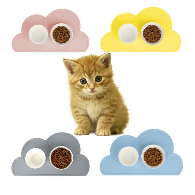 Pet Feeding Mat Dog Cat Cloud Shape Food Grade Silicone Reusable Food Pad Puppy Kitten Feeder Bowl Placemat Supplies Newest