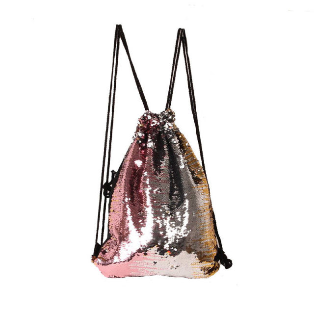 Women Sequins String Backpack Glittering Bling Bags Reversible Glitter  Drawstring Bags For Women 2018 New Women Beach Bag