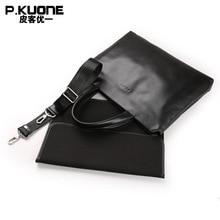P.KUONE Genuine Leather Laptop Bag New Fashion Men Briefcase Famous Luxury Brand  Men Handbag Designer High Quality Shoulder Bag