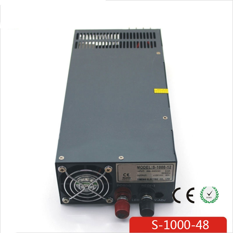 CE Soro 110V INPUT 1000W 48V 20A power supply Single Output Switching power supply for LED Strip light AC to DC UPS ac-dc 1200w 12v 100a adjustable 220v input single output switching power supply for led strip light ac to dc