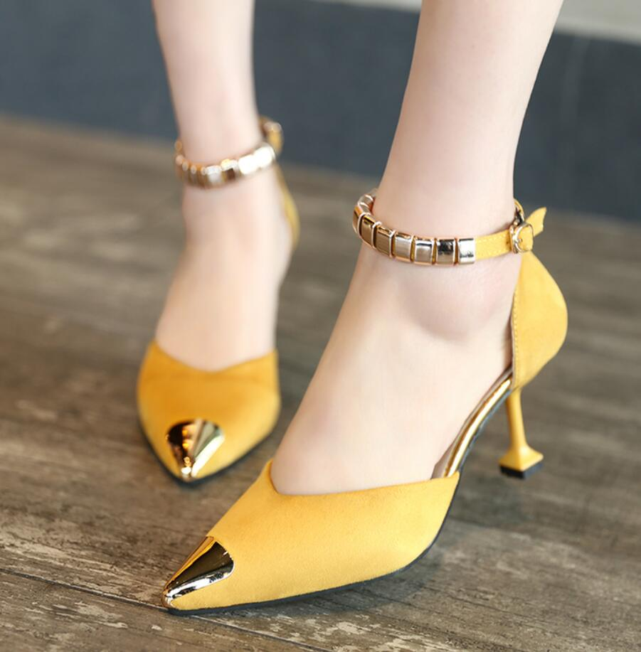 femme 2017 Spring&Autumn thin High Heels Women Wedding pumps zapatos mujer Sexy Gold pointed Toe Shoes hasp sapato feminino