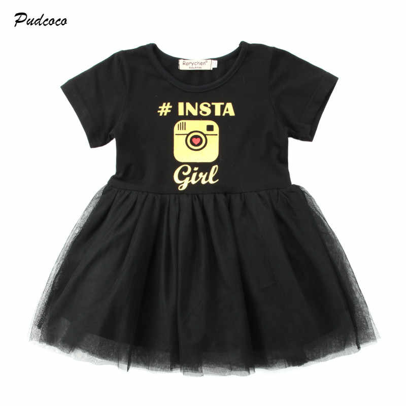 b66dafd20856 Summer Toddler Kids Baby Girl Dress Camera Print Patchwork Tutu Tulle  Princess Girls Holiday Party Dresses