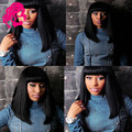 DHL Free!! Unprocessed Virgin Brazilian Straight Hair Full Lace Wig With Thick Chinese Bangs Lace Front wigs For Black Women