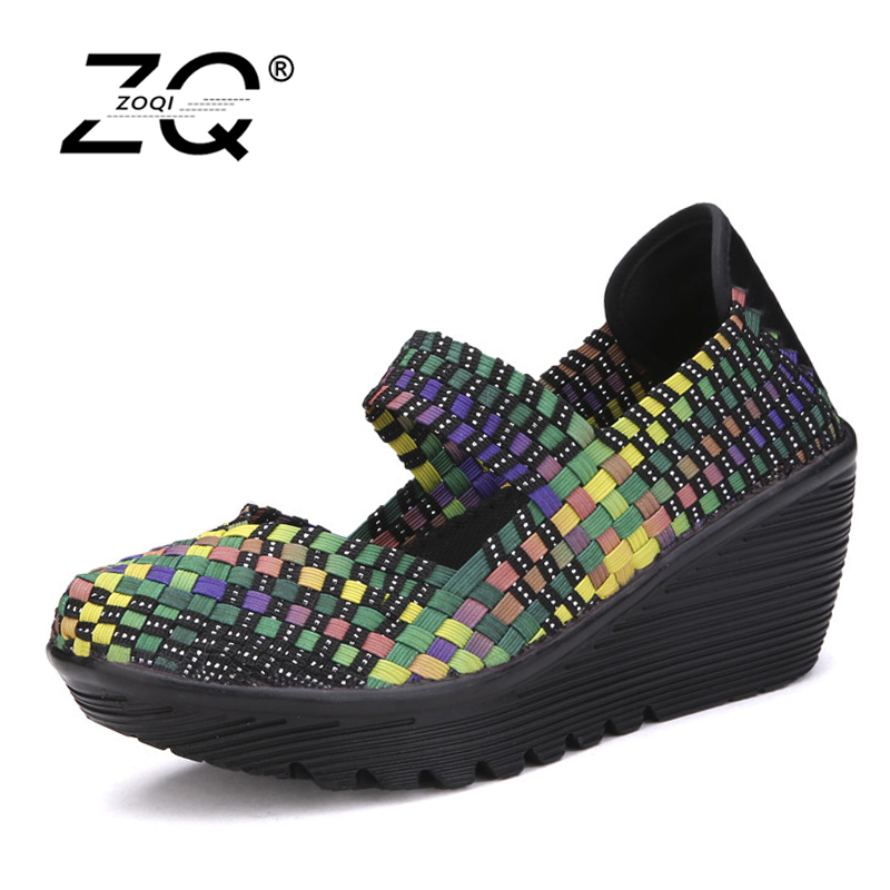 ZOQI 2017 New Summer Platform Shoes Women Wedges Weave Shoes Women Shoes Casual Breathable Rainbow Color Stretch Fabric free shipping candy color women garden shoes breathable women beach shoes hsa21