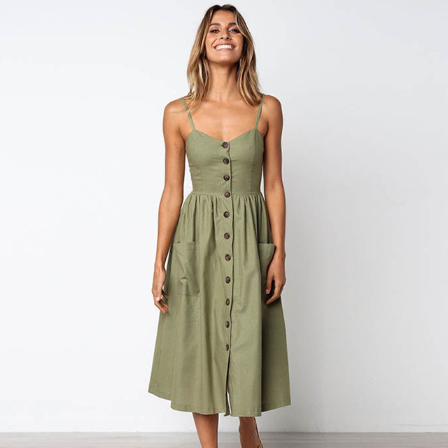 Vintage Army Green Sundress Women Summer Dress 2019 Boho Style Sexy Dress Midi Button Backless Striped Floral Beach Dress Female