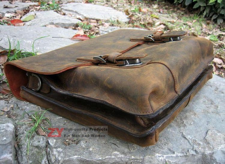 New Vintage Rugged Leather Full Grain Men S Briefcase Laptop Handmade Shoulder Bag Messenger Satchel S01205 In Briefcases From Luggage Bags On