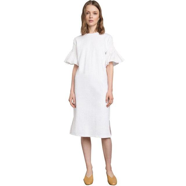6e163e7a070 White ruffle sleeve midi shift dresses for women summer half sleeve  mid-calf tunic dress ladies elegant monochrome loose dress